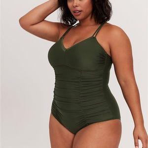 torrid Swim - Torrid Green Rushed Swimsuit NWT